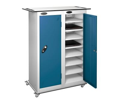 Mobile Trolley - Low two  Doors sixteen Shelf Laptop Locke