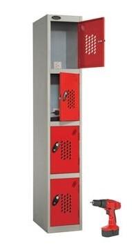 Four Door Power Tool Recharging Locker Perforated Doors