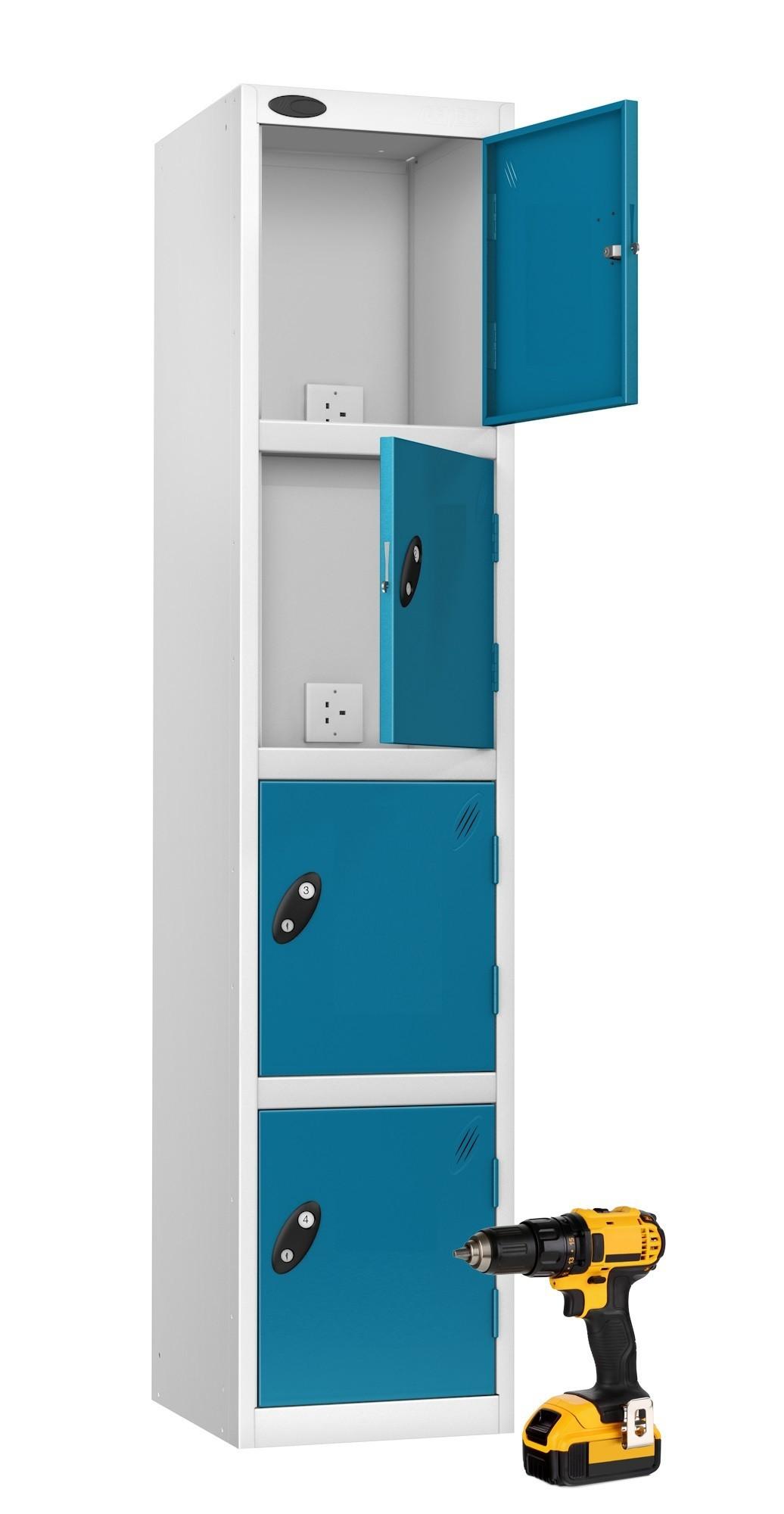 Four Door Power Tool Recharging Locker Plain Doors