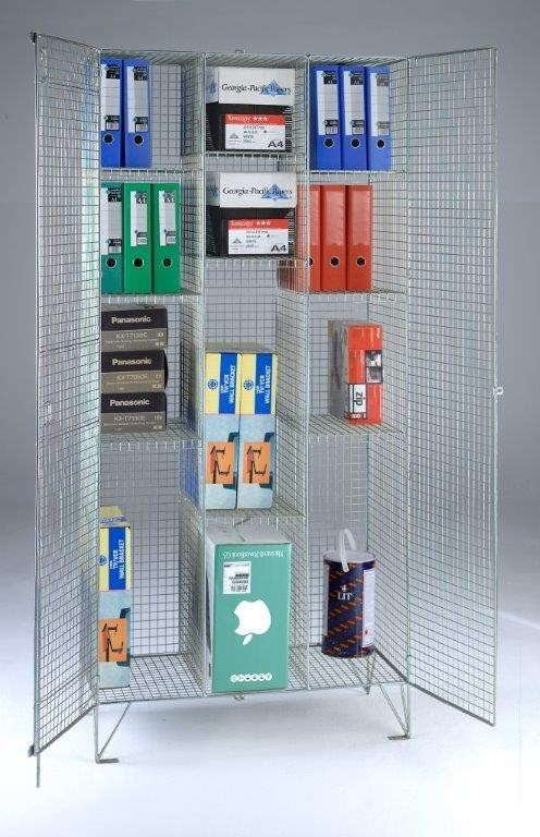 Wire Mesh Divided Cupboard - 12 Shelves