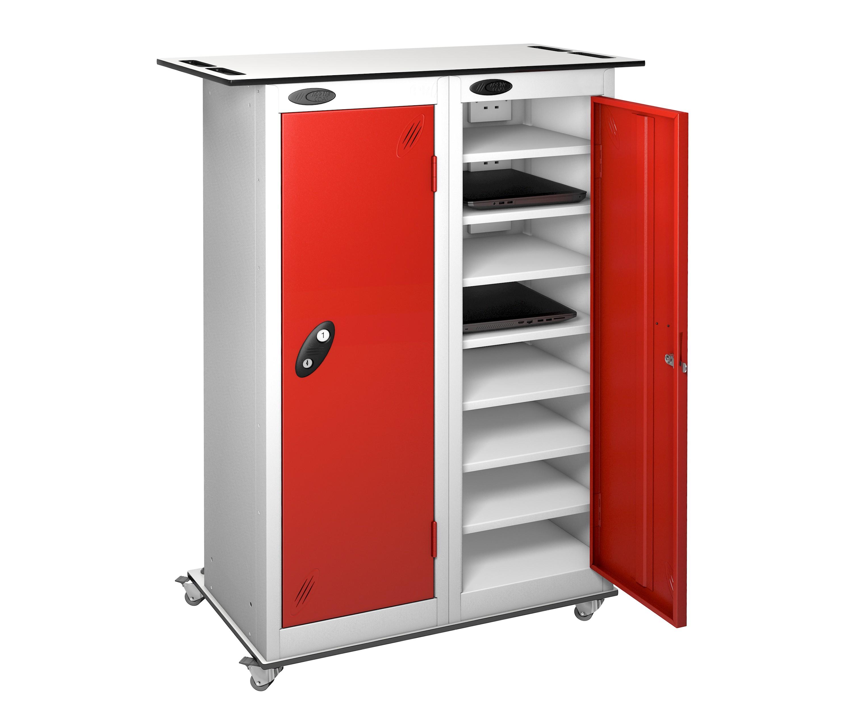 Mobile Trolley - Low 2 Doors 16 Shelf School Laptop Locker