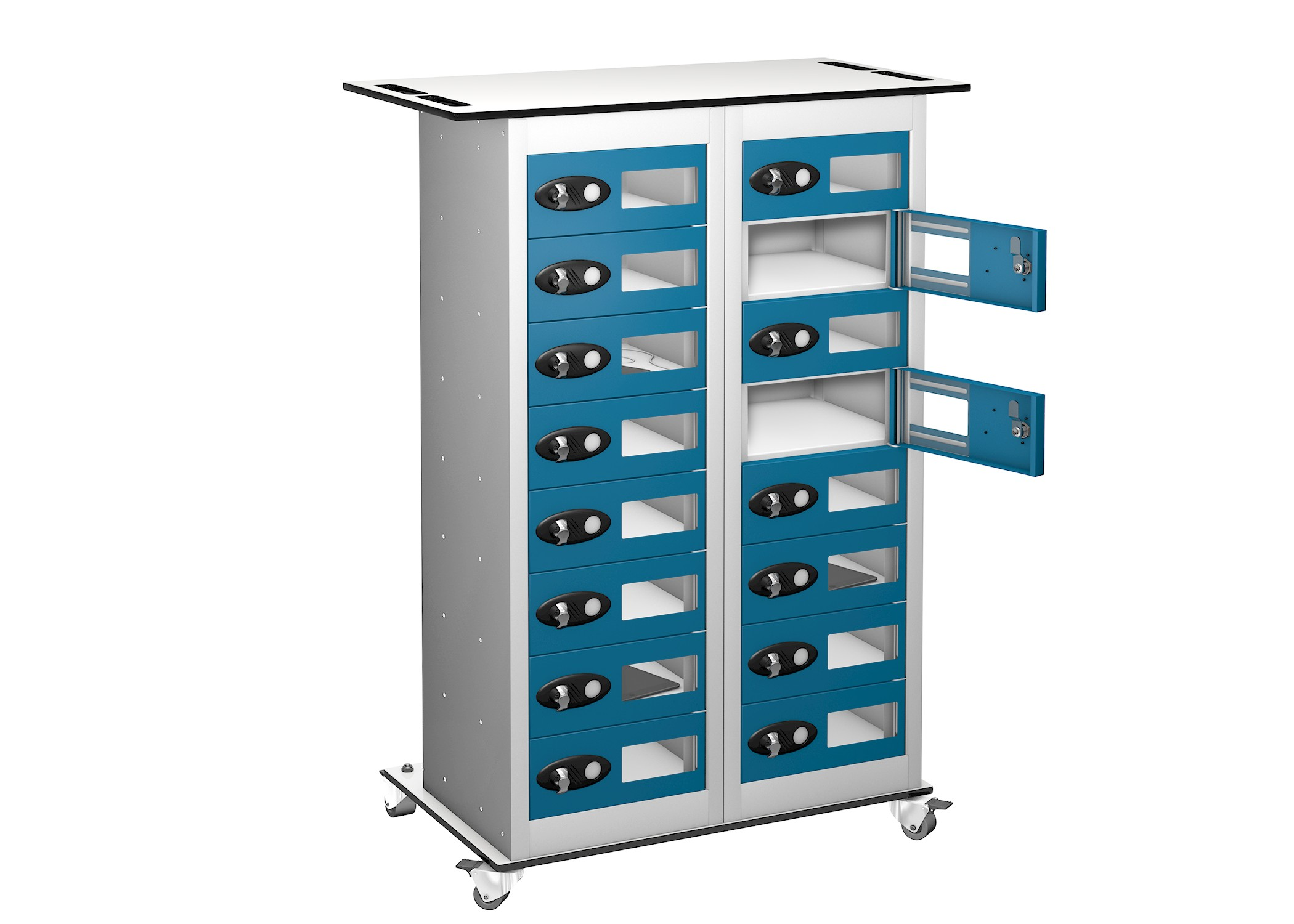 16 Door 16 Compartment Vision Panel Tablet Trolley
